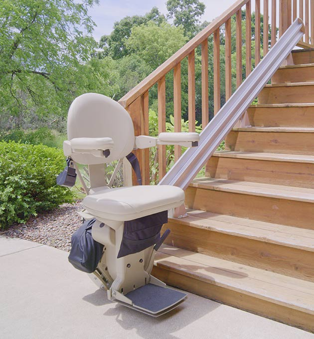 safenez bruno elite sre-2010 outdoor stairchair are exteriot outside straight rail stair lift chair